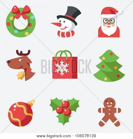 Christmas icons, flat design