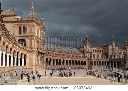 Seville, Spain, October 19, 2015 : The Plaza De Espana, In Maria Luisa Park (parque De Maria Luisa),