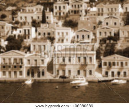 Greece. Island Symi In Blur Style. In Sepia Toned. Retro Style