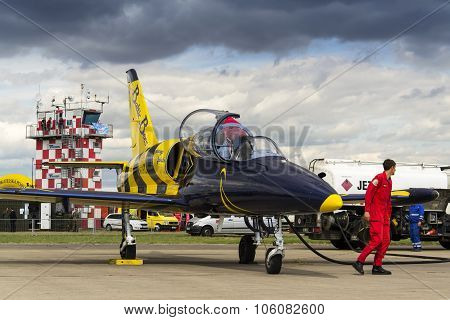 Baltic Bees Jet Team Crew With L-39 Planes On Runway