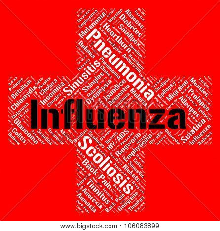 Influenza Word Indicates Poor Health And Afflictions