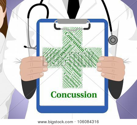 Concussion Word Shows Brain Injury And Ailments