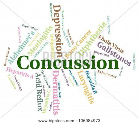 Concussion Word Indicating Ill Health And Text poster