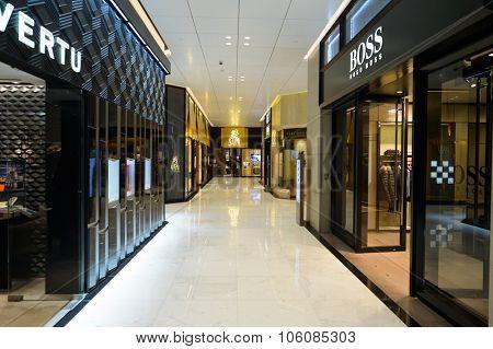 HONG KONG - OCTOBER 25, 2015: interior of the Landmark shopping mall. The Landmark, also known as