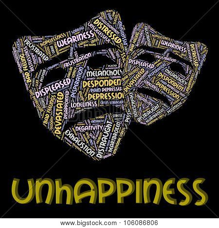 Unhappiness Word Indicates Grief Stricken And Despairing