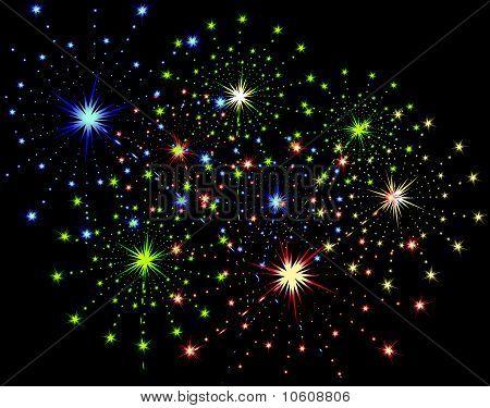 Firework streaks in the night sky