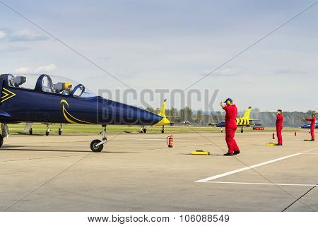 Baltic Bees Jet Team With L-39 Planes Rolling On Runway