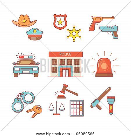 Police building, car, court and law enforcement