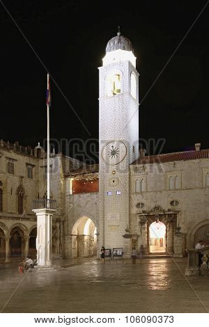 Stradun Clock Tower Dubrovnik