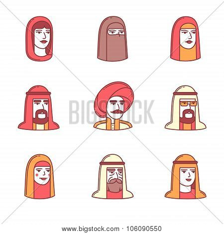 Arabic and muslim people faces icons thin line set