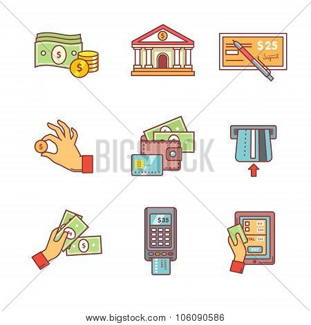 Banking icons thin line set. Currency operations