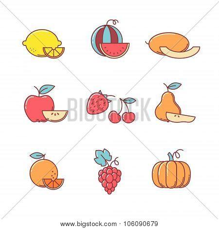 Fruit icons thin line set