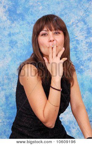Portrait of elegant smoking woman
