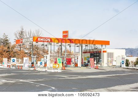 NAGANO JAPAN - FEB 15: ENEOS petrol station in Nagano Japan on February 15, 2015. ENEOS is a brand name of Nippon Oil established in 1888.