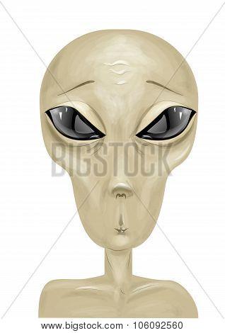 Alien On White