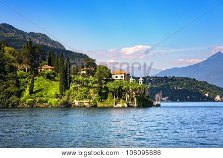 Lenno Town And Garden, Como Lake District Landscape. Italy, Europe.