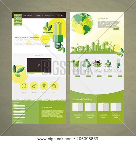 Eco Business website design template vector