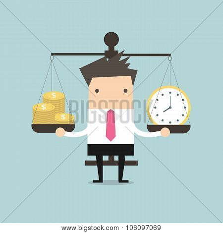 Businessman Balancing Time and Money