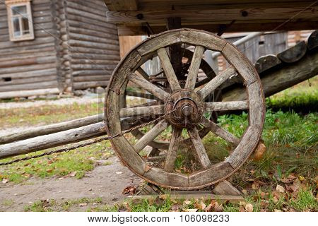 Big Vintage Rustic Wooden Wagon Wheel