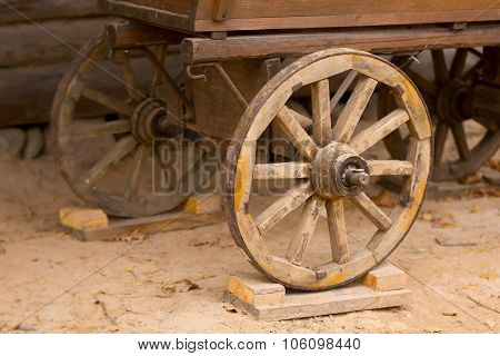 Big Vintage Rustic Wooden Wagon Wheels