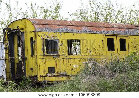 Old And Abandoned Passenger Train Wagons In Nature