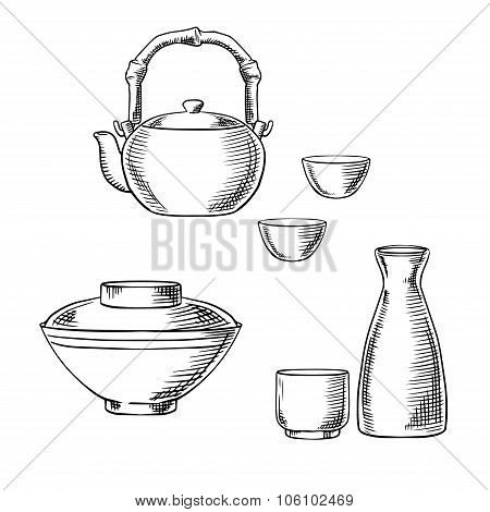 Japanese ceramic tableware sketch icons