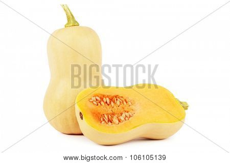 Butternut squash with cross section on white