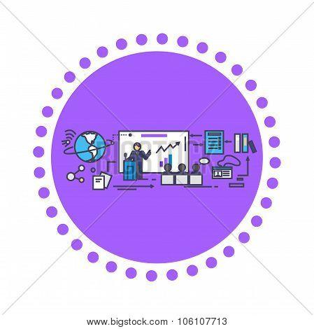 Business Training Icon Flat Design