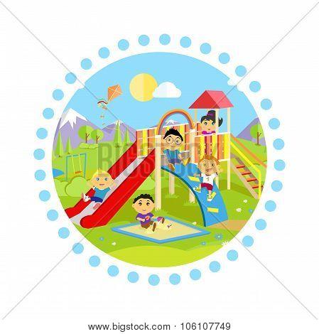Playground with Slide and Children