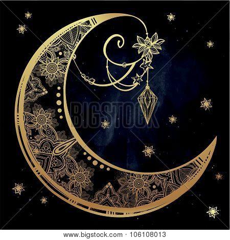 Ornate crescent moon illustration.