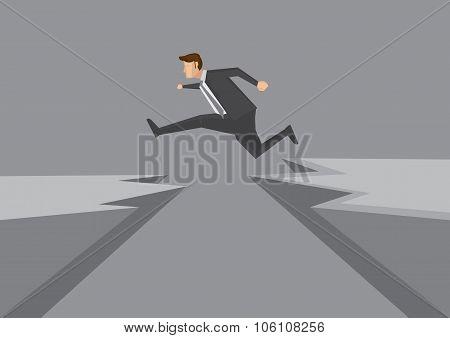 Confident Young Businessman Leaps Across Dangerous Cliff Vector Illustration