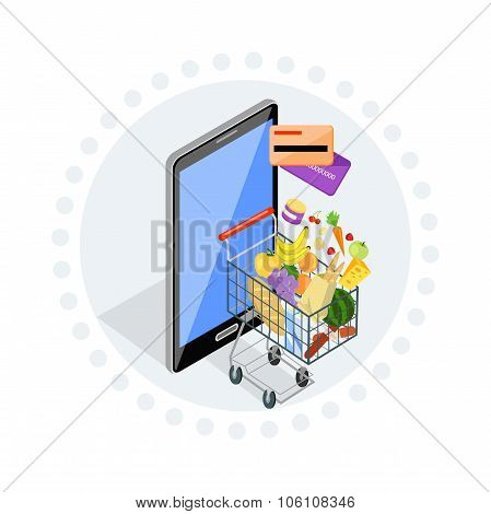 Concept of shopping via internet shop. Online and smartphone, card pay, web sale, e-commerce and foodstuffs, business technology, convenience and mobile illustration. Trolley with food. Online order poster