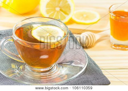 Tea With  Honey  And Lemon On Wood Background,warm Toning, Selective Focus