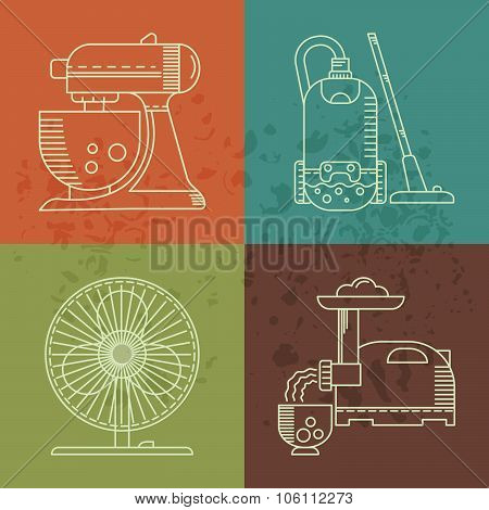 Kitchen utensils linear icons