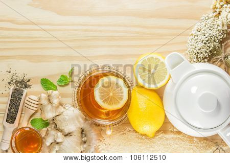 Tea With Mint Honey Ginger And Lemon On Wood Background,warm Toning, Selective Focus