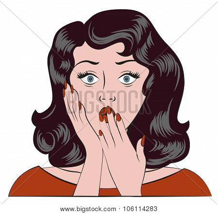Surprised girl. Oops emotion. Woman covered her mouth