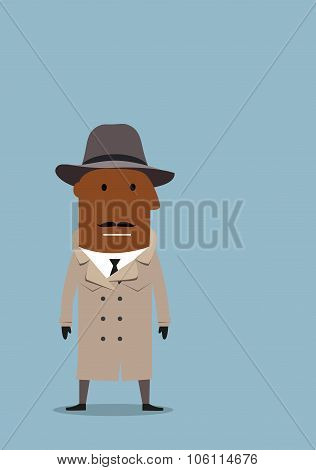 Detective man or spy agent in coat and hat