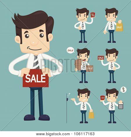 Set Of Youg Sale Man At Market Shopping Store