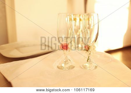 Glasses Of Champagne Beautifully Decorated