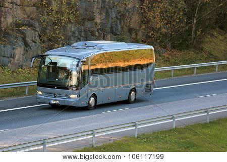 Grey Mercedes-benz Coach Bus On Motorway