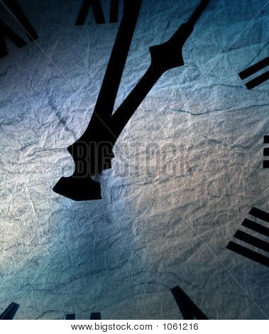 clock face with blue textured paper overlay poster