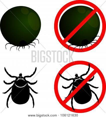 Tick flea and Stop Tick flea sign symbols vector design