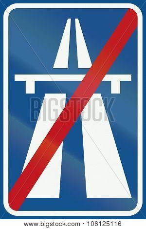 Netherlands Road Sign G2 - End Of Motorway