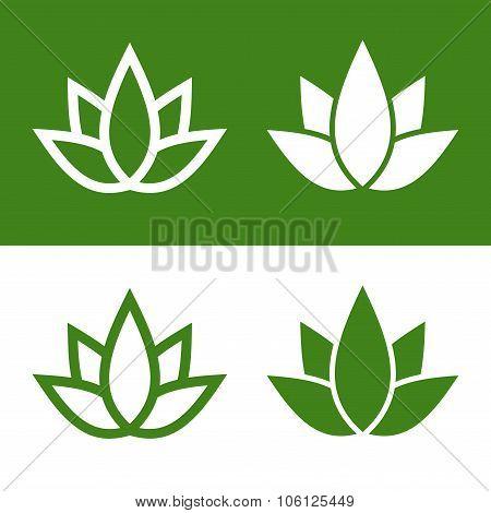 Green Lotus Plant Icon Set Logo. Vector