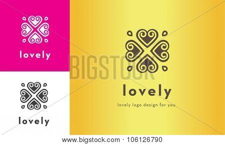 premium cute four heart vector logo design for multiple uses