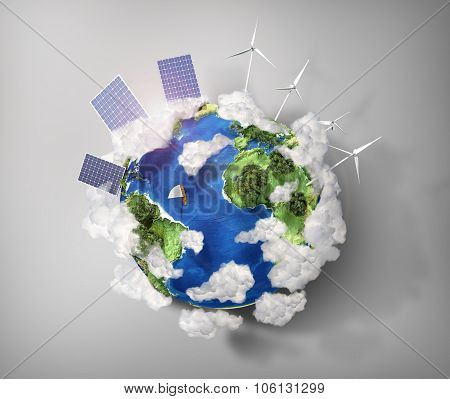 Concept Of Green Energy And Protect Enviroment Nature. Green Planet Earth With Batteries Of Solar En