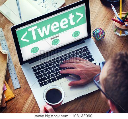 Digital Online Social Media Networking Tweet Sharing Concept