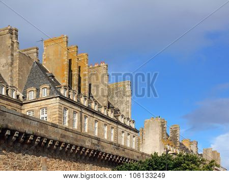 Saint Malo ramparts and typical chimneys of the ancient city (Brittany France)