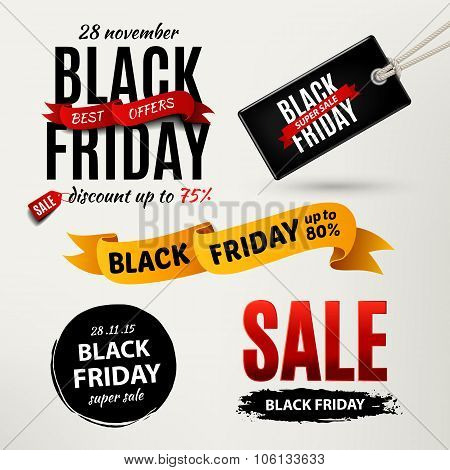 Black Friday Sale Design Elements. Black Friday Sale Inscription Labels, Stickers