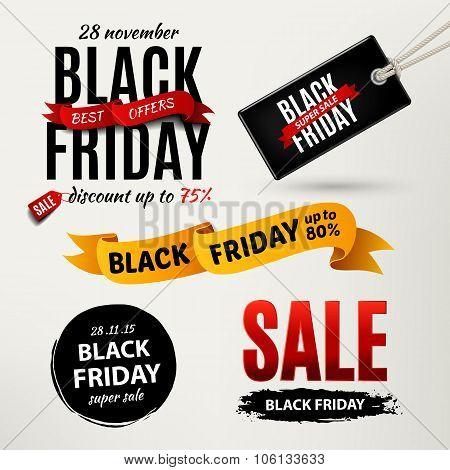 Black Friday Sale Design Elements. Black Friday Sale Inscription Labels, Stickers